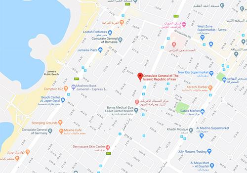 نقشه گوگل سرکونسلگری ایران در دبی در خیابان الوصل