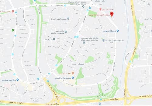 نقشه گوگل سفارت امارات متحده عربی در تهران در خیابان ایران زمین